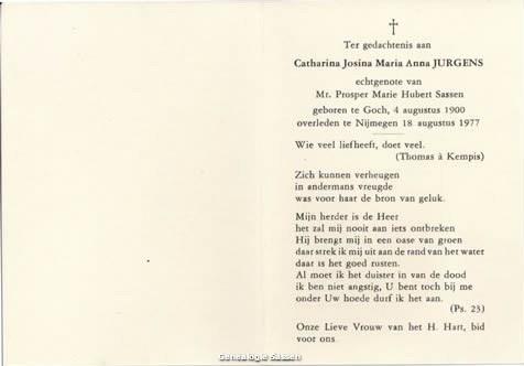 bidprentje Catharina Josina Maria Anna Jurgens (tekst)