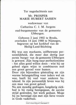 bidprentje Mr. Prosper Marie Hubert Sassen (tekst)