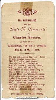communieprentje  Charles Marie Victor Sassen (tekst)