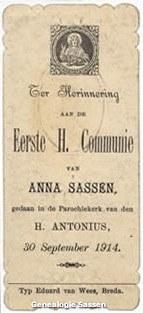 communieprentje Anna Maria Hubertina Sassen (tekst)