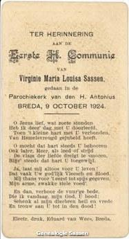 communieprentje Virginie Maria Louisa Sassen (tekst)