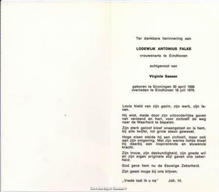 bidprentje Dr. Lodewijk Antonius Falke (tekst)