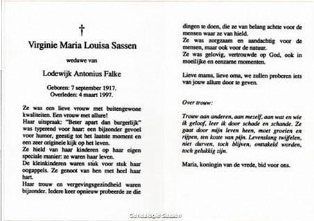 bidprentje Virginie Maria Louisa Sassen (tekst)