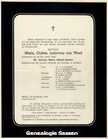 overlijdensannonce Maria Coleta Ludovica van Weel