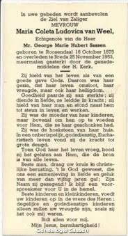 bidprentje Maria Coleta Ludovica van Weel (tekst)