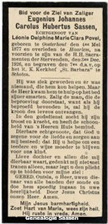 bidprentje Eugenius Joannes Carolus Hubertus Sassen (tekst)