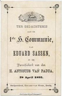 communieprentje Mr. Eduard Joseph Marie Sassen (tekst)