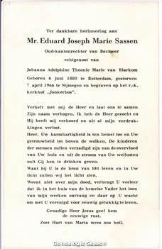 bidprentje Mr. Eduard Joseph Marie Sassen (tekst)