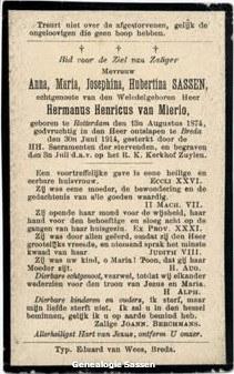 bidprentje Anna Maria Josephina Hubertina Sassen (tekst)