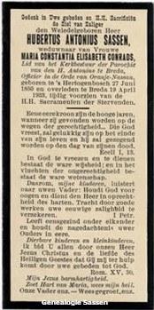 bidprentje Hubertus Antonius Sassen (tekst)