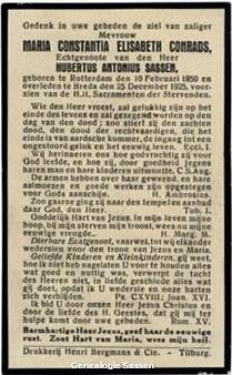bidprentje Maria Constantia Elizabeth Conrads (tekst)