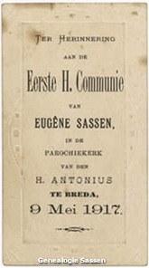 communieprentje Dr. Eugène Marie Louis Sassen (tekst)