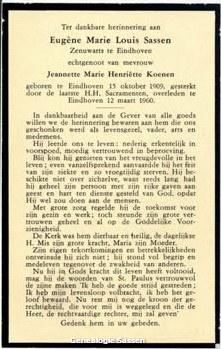 bidprentje Dr. Eugène Marie Louis Sassen (tekst)