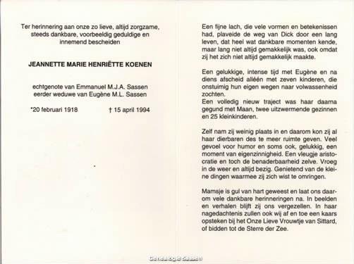 bidprentje Jeanette Marie Henriette Koenen (tekst)