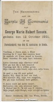 communieprentje Mr. George Marie Hubert Sassen (tekst)