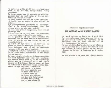 bidprentje Mr. George Marie Hubert Sassen (tekst)