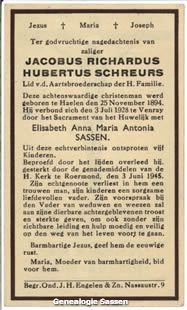 bidprentje Jacobus Richardus Hubertus Schreurs (tekst)