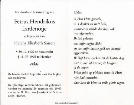 bidprentje Petrus Hendrikus Lardenoije (tekst)