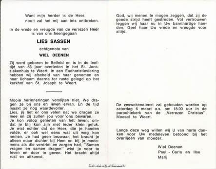 bidprentje Elisabeth Josephina Sassen (tekst)