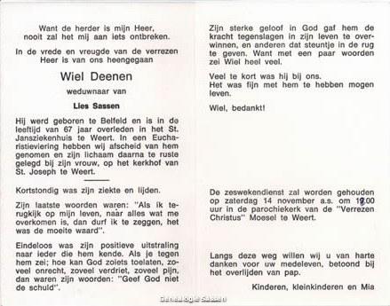 bidprentje Wilhelmus Hubertus Deenen (tekst)