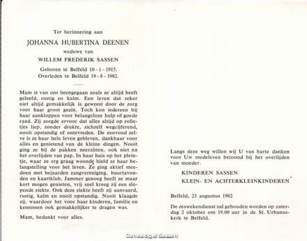 bidprentje Johanna Hubertina Deenen (tekst)