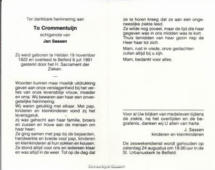 bidprentje Catharina Gerarda Laurentia Crommentuijn (tekst)