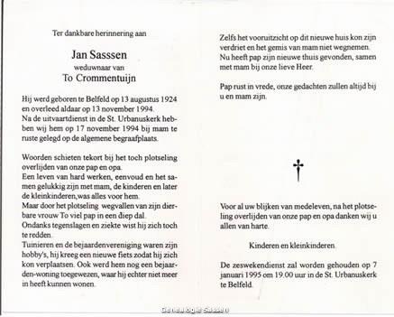 bidprentje Johannes Jacobus Leonardus Sassen (tekst)