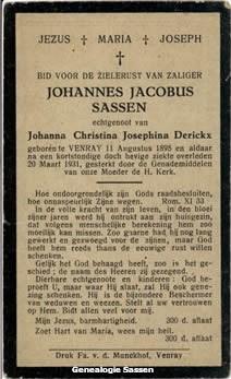 bidprentje Johannes Jacobus Sassen (tekst)