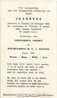 bidprentje Jeanette Henrica Pierre Sassen (tekst)