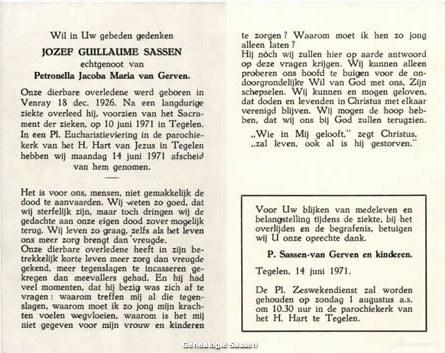 bidprentje Jozef Guillaume Sassen (tekst)