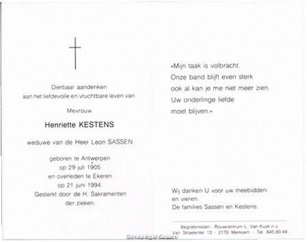 bidprentje Henriette Leontine Kestens (tekst)