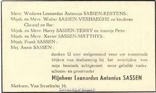 bidprentje Leonardus Antonius Sassen (tekst)
