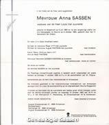overlijdensannonce Anna Maria Catharina Sassen