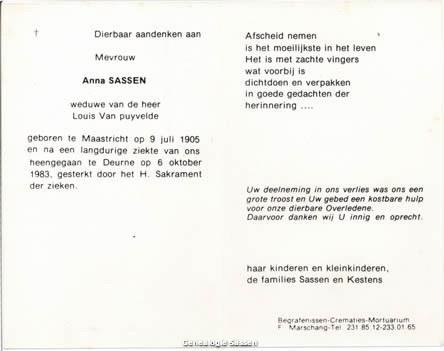 bidprentje Anna Maria Catharina Sassen (tekst)