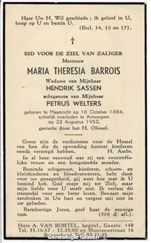 bidprentje Maria Theresia Barrois (tekst)
