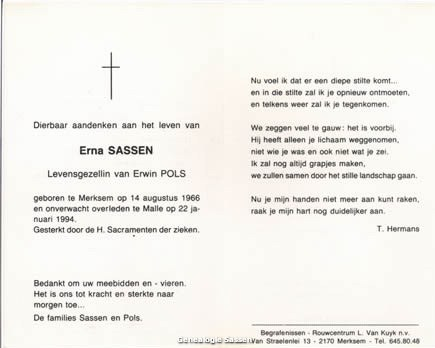 bidprentje Erna Hendrik Denise Sassen (tekst)