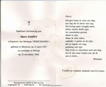 bidprentje Hendrik Theresia Theo Sassen (tekst)