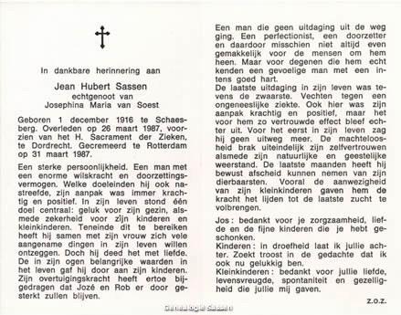 bidprentje Jean Hubert Sassen (tekst)