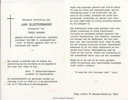bidprentje Jan Sijstermans (tekst)
