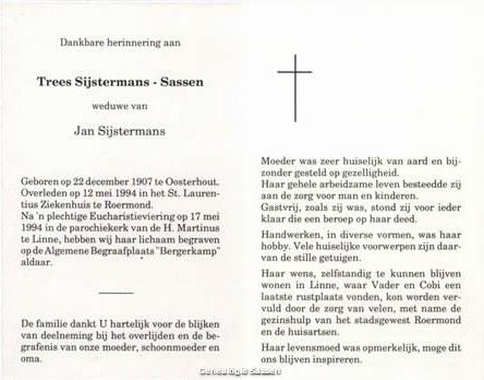 bidprentje Theresia Louisa Jacoba Sassen (tekst)