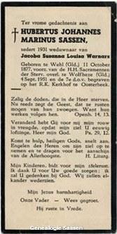 bidprentje Hubertus Johannes Marinus Sassen (tekst)