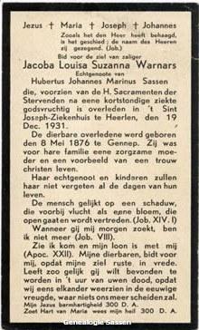 bidprentje Jacoba Susanna Louisa Warnars (tekst)