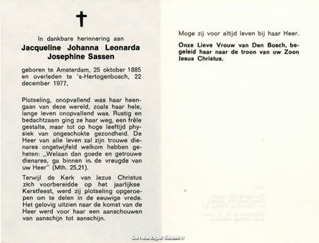 bidprentje Jacqueline Johanna Leonarda Sassen (tekst)