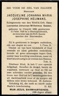 bidprentje Jacoba Johanna Maria Josephina Heijmans (tekst)