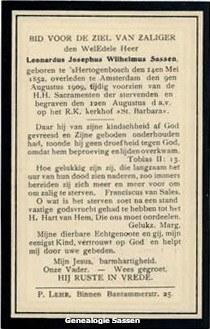 bidprentje Leonardus Josephus Wilhelmus Sassen (tekst)