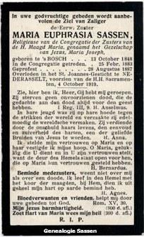 bidprentje Maria Anna Elisabeth Sassen (tekst)