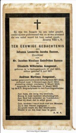 bidprentje Johanna Leonarda Jacoba Sassen (op zijde gedrukt)