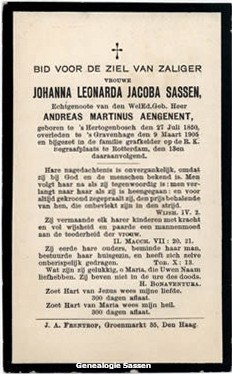 bidprentje Johanna Leonarda Jacoba Sassen (tekst)