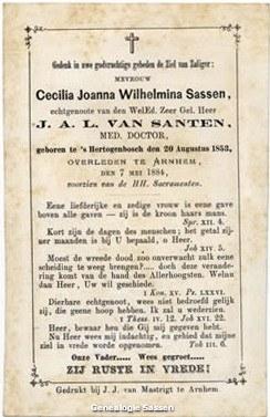 bidprentje Cecilia Johanna Wilhelmina Sassen (tekst)