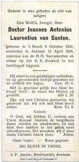 bidprentje Dr. Joannes Antonius Laurentius van Santen (tekst)